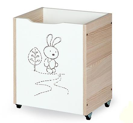 Klups Dřevěný box na hračky Safari - Zajíček capuccino