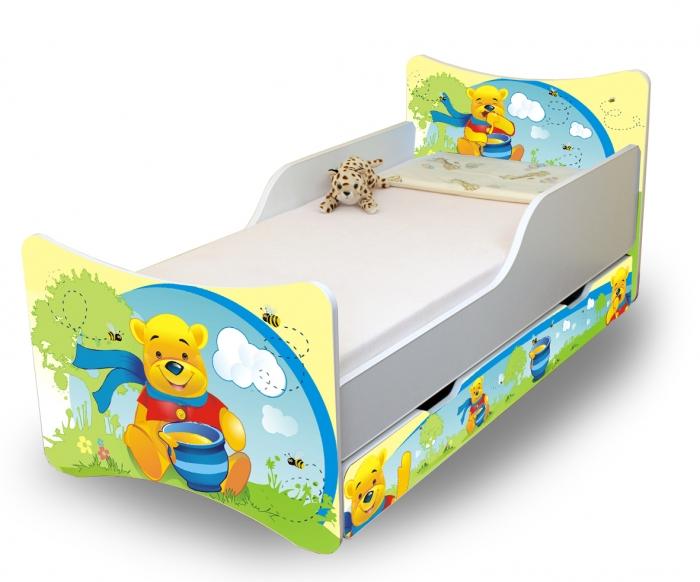 Dětská postel se zábranou a šuplík/y Medvídek s medem - 200x90 cm
