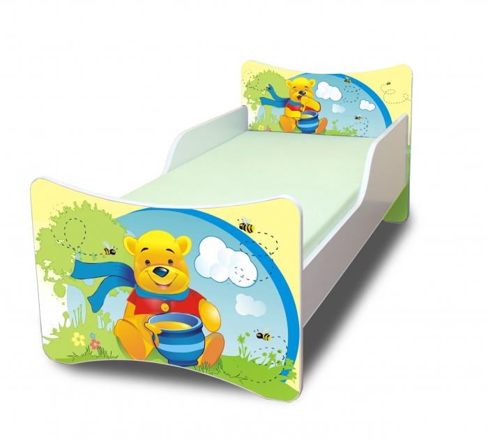 Dětská postel se zábranou Medvídek s medem - 160x70 cm