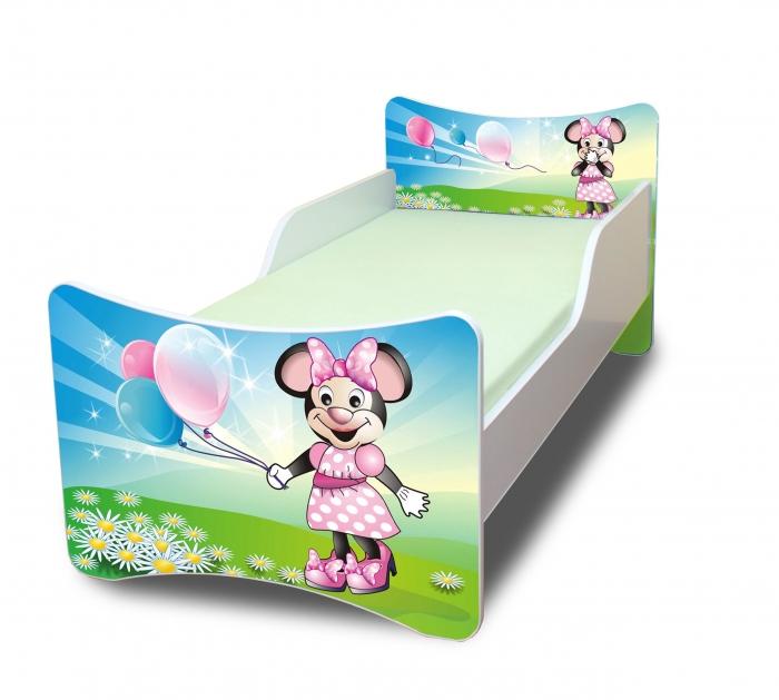 Dětská postel se zábranou Myška s balónkem - 160x80 cm