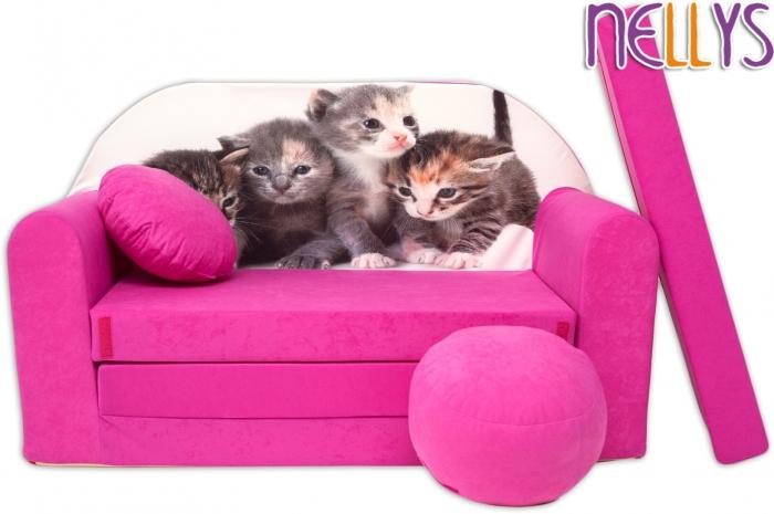 Rozkládací dětská pohovka 35R - Kočičky v růžové