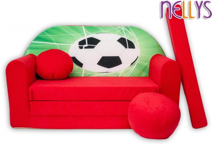 Rozkládací dětská pohovka 36R - Fotbal v červené