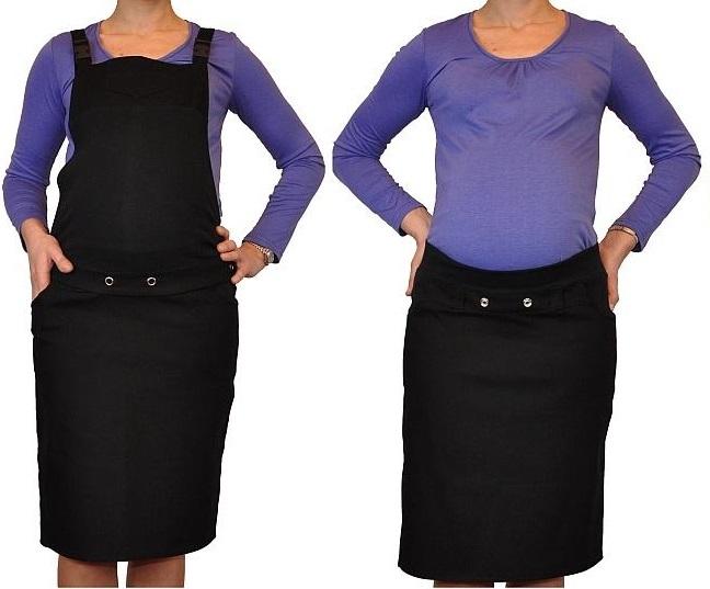 Těhotenské šaty/sukně s láclem - černé