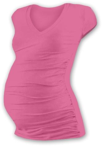 Těh. tričko MINI rukáv s výstřihem do V - růžové