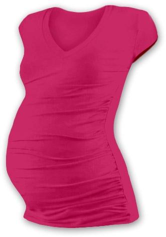 Těh. tričko MINI rukáv s výstřihem do V - sytě růžové