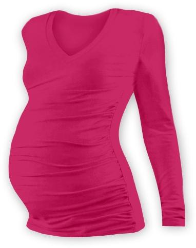 Těh. tričko dl. rukáv s výstřihem do V - sytě růžové