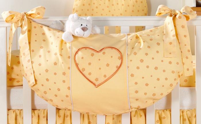 Luxusní kapsář na hračky - Srdíčko květinka pomeranč