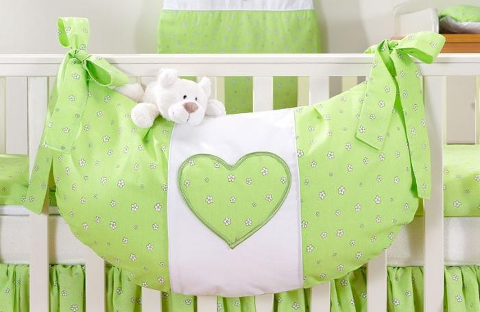 Luxusní kapsář na hračky - Srdíčko květinka zelená