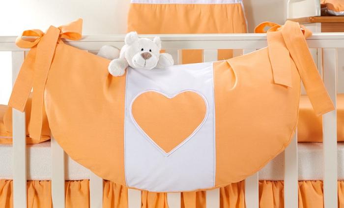 Luxusní kapsář na hračky - Srdíčko pomeranč