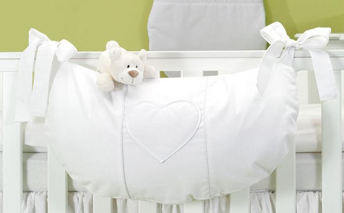Luxusní kapsář na hračky - Srdíčko bílé