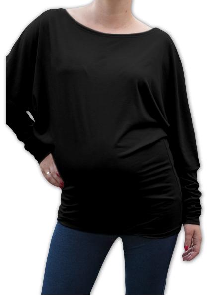 Symetrická těhotenská tunika - černá