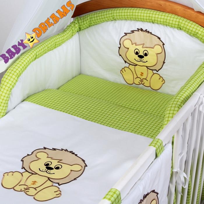 Mantinel s povlečením Baby Dreams SAFARI - Lev - zelená kostikačka