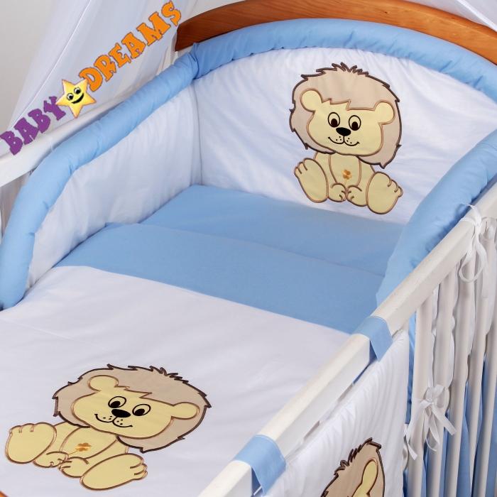 Mantinel s povlečením Baby Dreams SAFARI - Lev - sv. modrý
