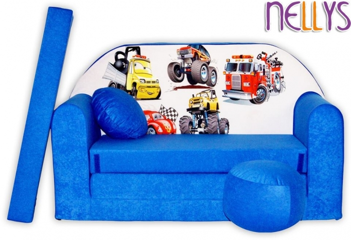 Rozkládací dětská pohovka 52R - Auta v modré