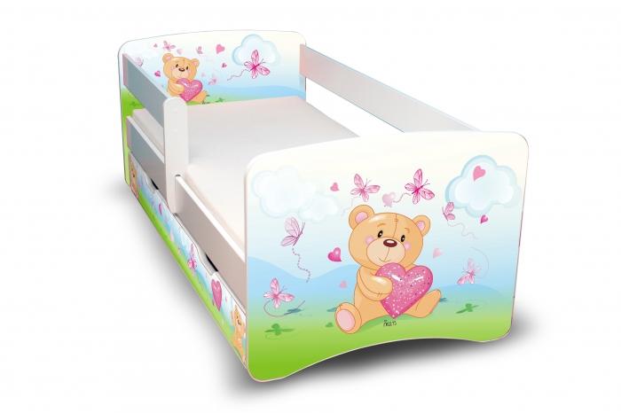 Dětská postel Medvídek se srdíčkem II. s šuplíkem