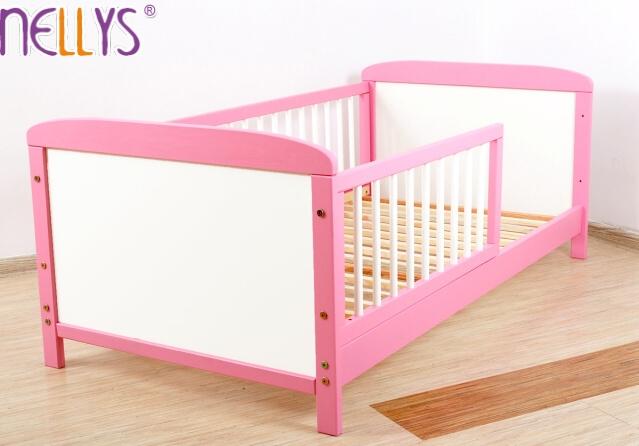 Dětská juniorská postel/postýlka Nellys - růžová/bílá