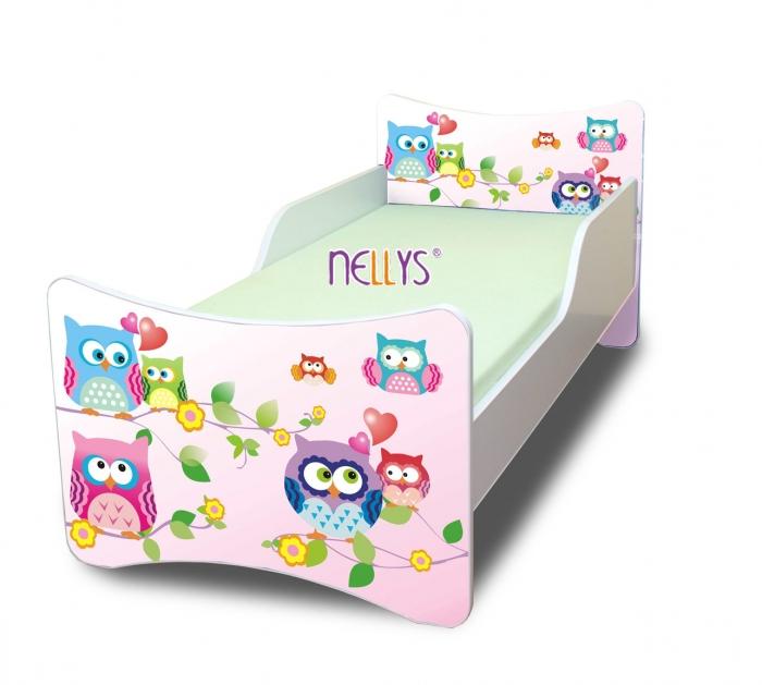 Dětská postel se zábranou Sovičky
