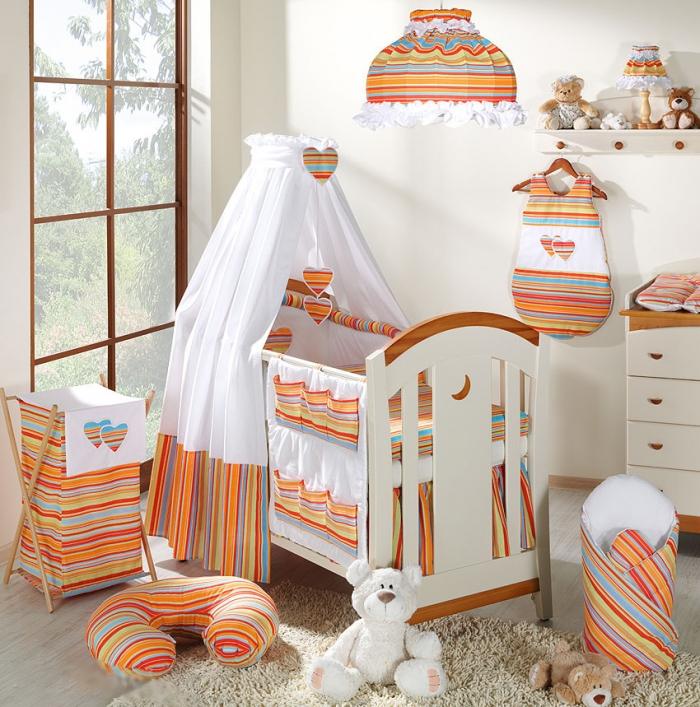 Luxusní 5D set s nebesy z celé látky Mamo Tato - Srdíčko proužek pomeranč