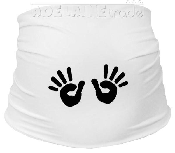 Těhotenský pás s ručičkami, vel. L/XL - bílý