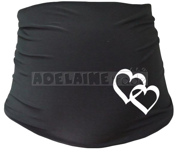Těhotenský pás se srdíčky, vel. L/XL - černý