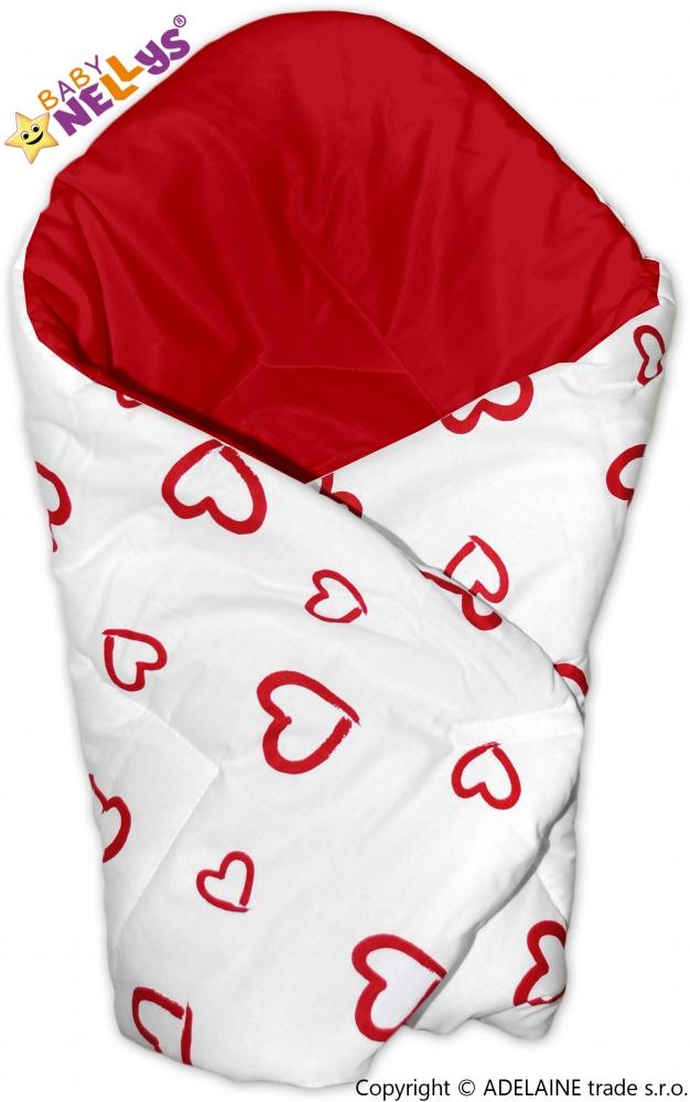 Zavinovačka - Srdíčka bílá/červená s výztuží