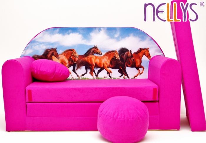 Rozkládací dětská pohovka 58R - Koně v růžové
