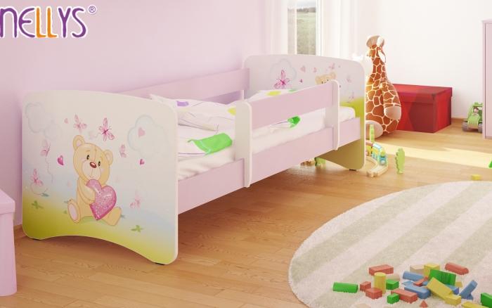 Dětská postel Nellys ® - Míša srdíčko/sv.růžová