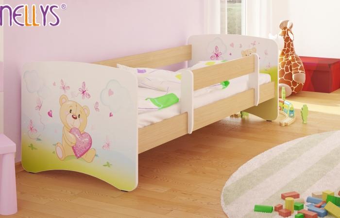 Dětská postel Nellys ® - Míša srdíčko/sv.hnědá