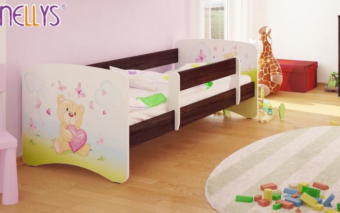 Dětská postel Nellys ® - Míša srdíčko/tm.hnědá