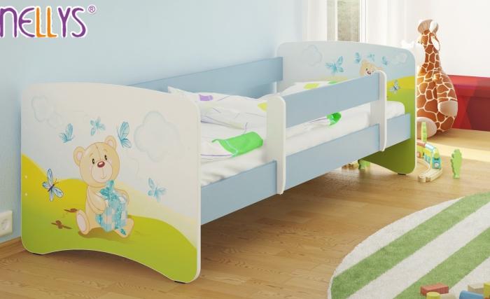 Dětská postel Nellys ® - Míša dáreček/sv.modrá