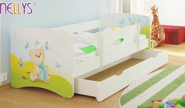 Dětská postel Nellys ® s šuplíkem/ky - Míša dáreček/bílá