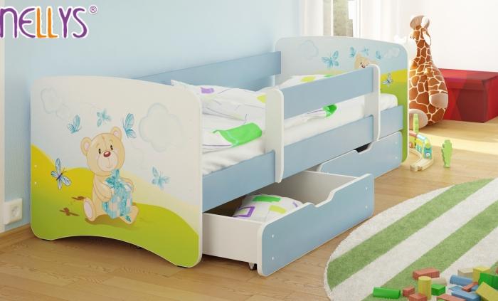 Dětská postel Nellys ® s šuplíkem/ky - Míša dáreček/sv.modrá