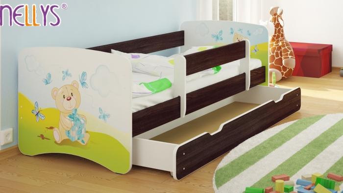 Dětská postel Nellys ® s šuplíkem/ky - Míša dáreček/tm.hnědá