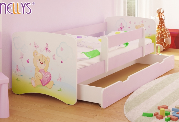 Dětská postel Nellys ® s šuplíkem/ky - Míša srdíčko/sv. růžové