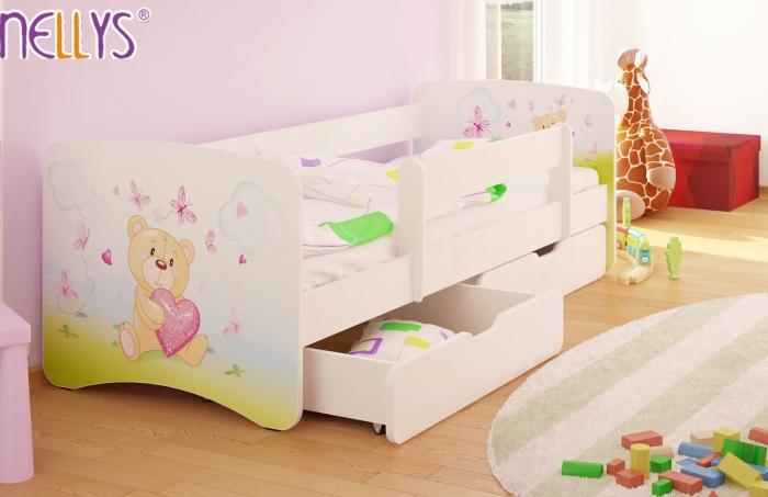 Dětská postel Nellys ® s šuplíkem/ky - Míša srdíčko/bílé