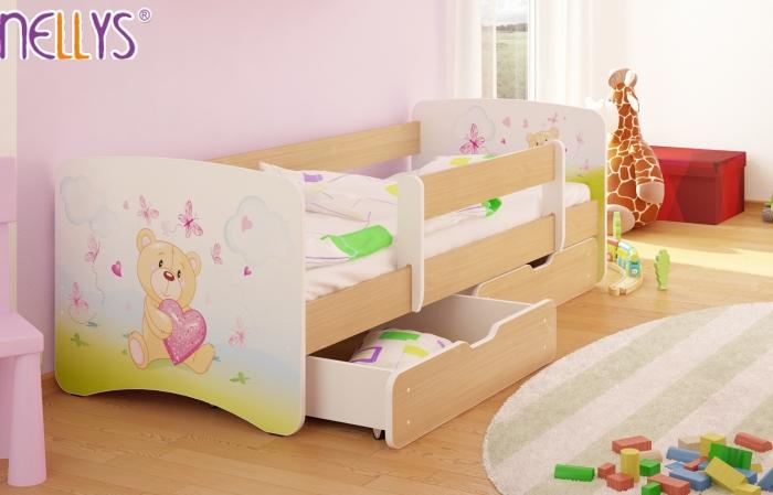 Dětská postel Nellys ® s šuplíkem/ky - Míša srdíčko/sv. hnědá