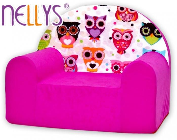 Dětské křesílko/pohovečka Nellys ® - Malé sovičky růžové