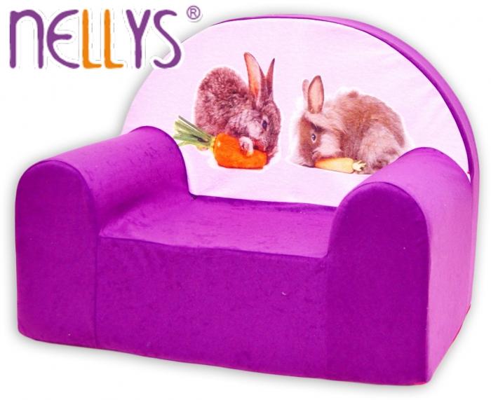 Dětské křesílko/pohovečka Nellys ® - Zajíčci ve fialové