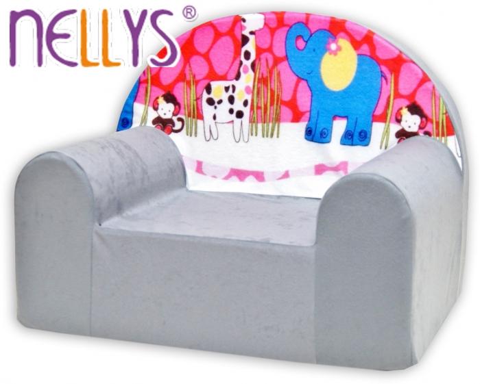 Dětské křesílko/pohovečka Nellys ® - Safari v šedé