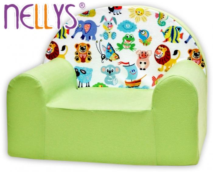 Dětské křesílko/pohovečka Nellys ® - Veselá zvířatka v zelené