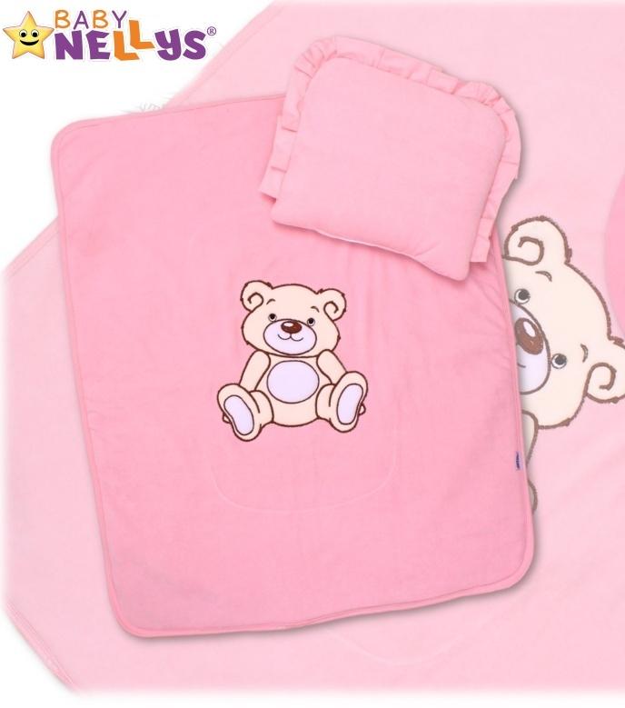 Sada do kočárku jersey Medvídek TEDDY BEAR Baby Nellys - růžová