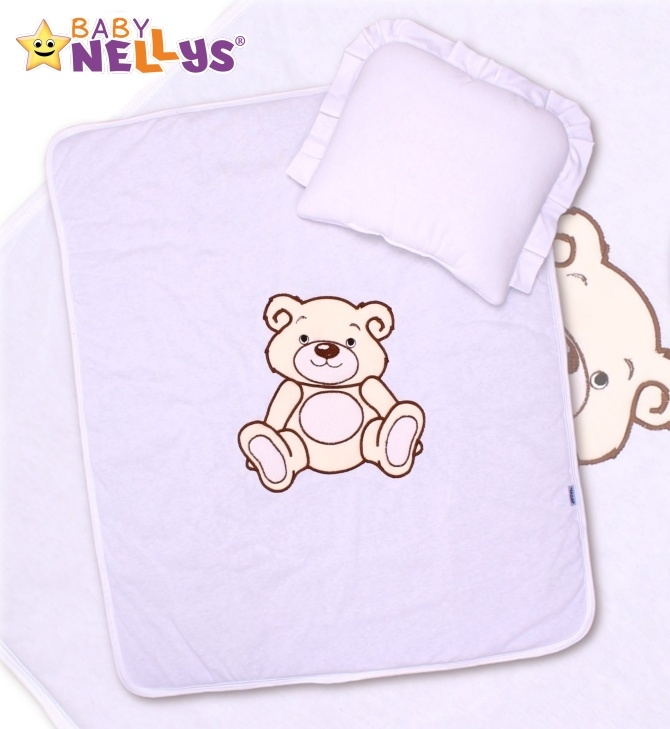 Sada do kočárku jersey Medvídek TEDDY BEAR Baby Nellys - bílá