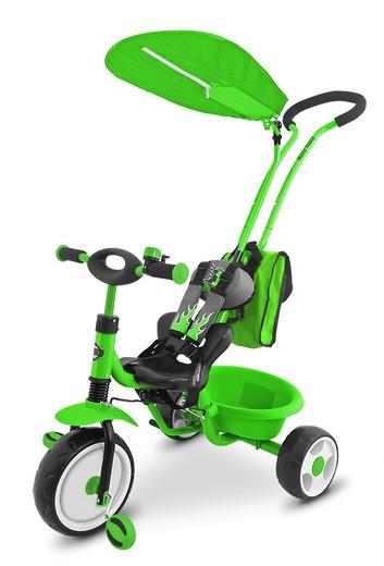 Tříkolka s pásy a vodící tyči DeLuxe - zelený