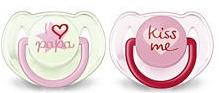 Dudlíky Avent - 6-18m - růžové Kiss me/ tyrkys I love papa