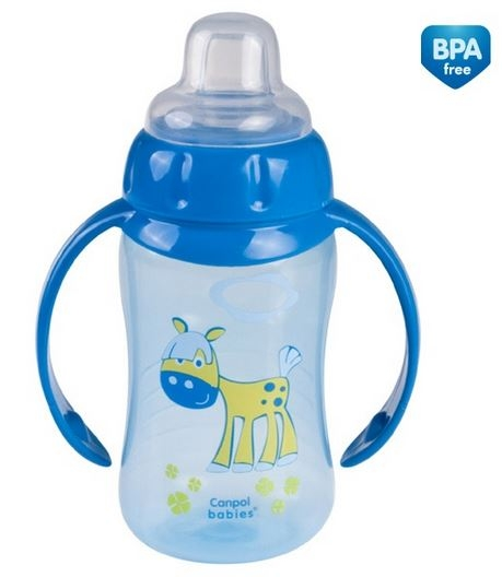 Tréningová hrneček/lahvička s úchyty 320ml - modrá s úchyty