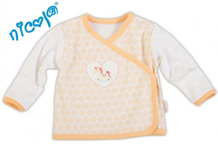 Novorozenecká košilka Koníček - sv.lososový puntík