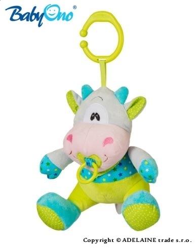 Chrastítko s klipsou a hracím strojkem Baby Ono - KRAVIČKA