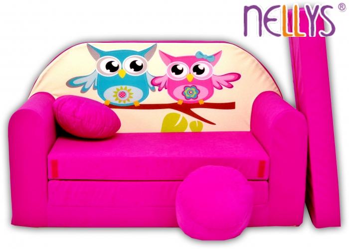 Rozkládací dětská pohovka Nellys ® Sovičky - růžové