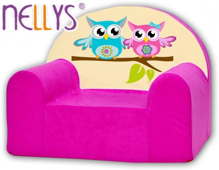 Dětské křeslo Nellys - Sovičky Nellys růžové