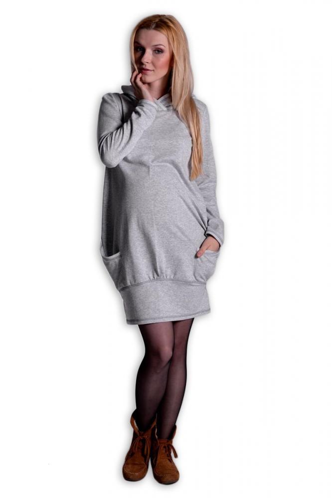 Sportovní těhotenské šaty s kapucí - šedý melírek